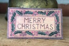 Dollhouse Miniature Vintage 'Merry Christmas' Rug or Doormat!