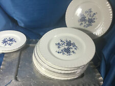 LOT 4 Royal Blue Wedgewood England Ironstone tunstall dinner plate  blue white