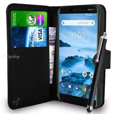 Wallet Case PU Leather Cover For Nokia 6 2018 / 6.1 2018 Mobile Phone Black
