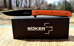 "Rare/Sprint Run! Boker Plus Urban Trapper 3.5"" Knife -Titanium Lock ORANGE G-10"