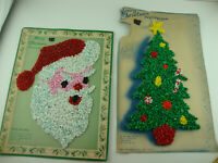 Lot of 2 Vintage Melted Plastic Popcorn CHRISTMAS Wall Decoration W/original pac