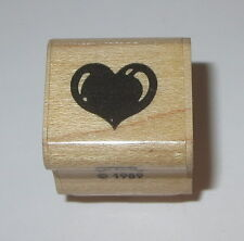 "Puffy Heart Rubber Stamp Fun Stamps Retired Love Mini Wood Mounted 7/8"" Long"