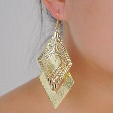 Nice 18 K Gold Plated Diamond Shape Frosted Light Dangle Drop Earrings Jewelry