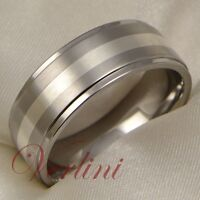 8MM Mens Titanium Wedding Band Ring Silver Inlay Brushed Jewelry Size 6-13
