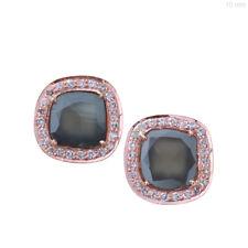 14k Rose Gold Genuine 0.9Ct Slice Diamond Square Stud Earrings Handmade Jewelry