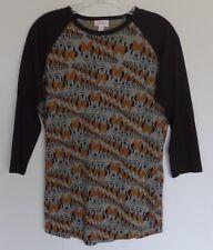 Lularoe Disney Black Gray Gold Minnie Mouse Raglan Style T-shirt Top Size Small