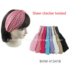 12pcs Lace Twist Knot Head Wrap Checker Headband Twisted Knotted Hair Net Lots