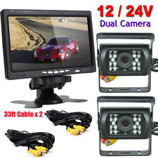 "Dual Night Vision Backup Reversing Cameras and 7"" HD Monitor for Truck Harvester"