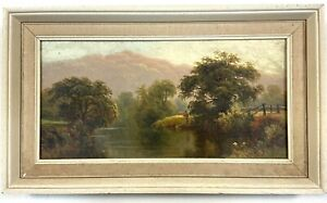 Thomas Spinks Victorian Oil Painting On Canvas Figure Fishing On River Bank