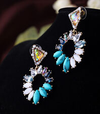 earrings Nails Round Irregular Shell Turquoise Blue Vintage AA 12