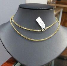 Auténtico 10 Quilates Oro Franco Collar Cadena de Oro,66cm Pulgadas,2mm Diamond