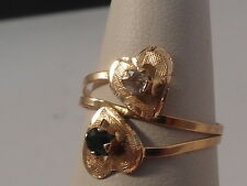 90H Ladies bespoke 18ct gold Sapphire and Diamond double heart design ring