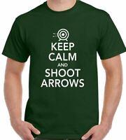 Archery T-Shirt Keep Calm & Shoot Arrows Mens Funny