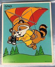 Vintage 1980 Playskool 7-Piece Wood Puzzle: Rick Raccoon Parasailing 330–05.2097