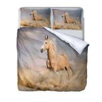 White Horse Dusty 3D Print Duvet Quilt Doona Covers Pillow Case Bedding Sets