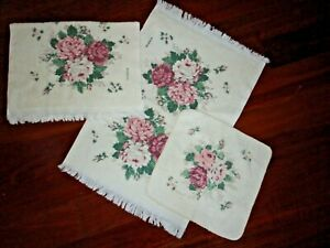 VINTAGE FRANCO VINTAGE ROSES PINK BURGUNDY (3PC) HAND TOWEL & WASHCLOTH SET