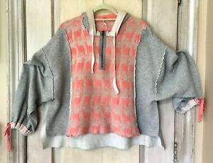 Free People Sweatshirt Sweater Hoodie Alpaca My Bags Hi Lo Oversize Gray Pink S