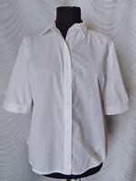 🔻Hobbs White Cotton Shirt Blouse Size UK 12 US 8 Short Sleeve Button Up Peplum
