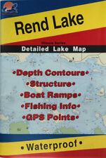 Rend Lake Detailed Fishing Map, GPS Points, Waterproof, Depth Contours #L186