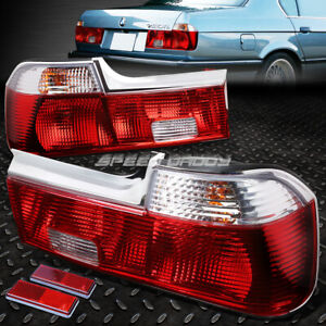 FOR 88-94 BMW 7-SERIES E32 PAIR RED/CLEAR LENS TAIL LIGHT BRAKE REVERSE LAMPS