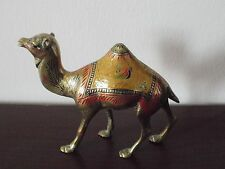 Vintage ISLAMIC ART MIDDLE EASTERN Brass cold painted camel figurine figure