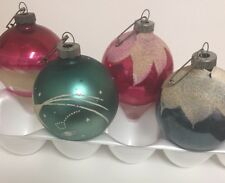Shiny Brite Glass Frosted Glitter Christmas Ornaments  4 Red Blue Vintage