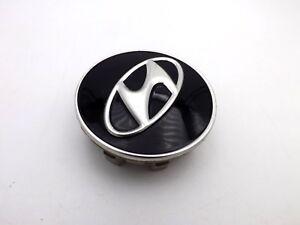 "Hyundai Black Silver Logo Wheel Center Cap Genesis Santa Fe Rim Cover OEM 2 3/8"""