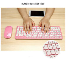 2.4G Whisper-Quiet Wireless Keyboard and Mouse Combo for PC Mac Pink