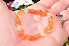 CHARGED Carnelian Agate & Citrine Crystal Chip Stretchy Bracelet w Quartz REIKI