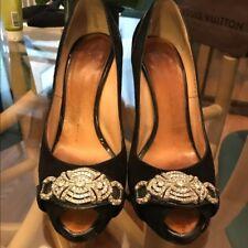 Giuseppe Zanotti Black suede Peep toe stilletto pump heels with crystal detail