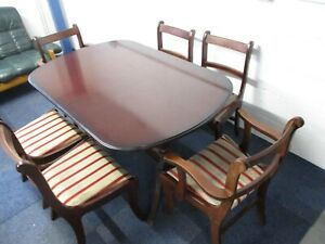 Mahogany Extending Dining Table & 6 Chairs, Inc. 2 Carver Chairs, Regency Stripe