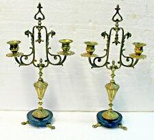 Paire de petits candélabres en laiton et marbre Napoléon III, à 2 feux