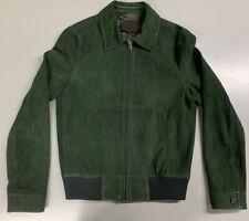 PRADA Mens Suede Leather Zip-Up Biker Jacket US 36 IT 46 - Bottle Green