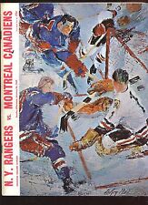 Jan 26 1969 NHL Hockey Program Montreal Canadiens at New York Rangers EXMT