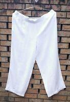 J Jill Love Linen Size 3X  Wide Leg Pull On Pants 100% Linen White