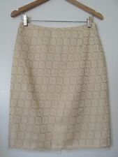 The Limited Beige Gold Print Lined Straight Penci Skirt NWT SZ: 2