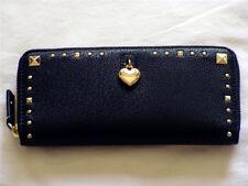 NWT Juicy Couture $89 Zip Tech Leather Stud Envelop Wallet, Black
