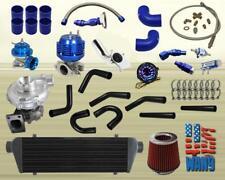 JDM Universal T3/T4 Turbo Kit Turbocharger+Intercooler+Wastegate+Bov+Gauge Blue