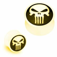 "PAIR-Bone w/Black Punisher Horn Double Flare Plugs 16mm/5/8"" Gauge Body Jewelry"