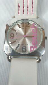 Ladies bench watch White Pink wristwatch New Battery - Quartz