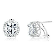 6CTW Sterling Silver Cushion Cubic Zirconia CZ Halo Omega Back Stud Earrings