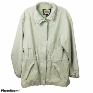 Cabelas Womens Jacket Coat green Zip Up Lined Collar Snap Button Pocket sz Lg