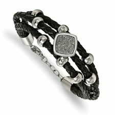 Crystal Leather with Extension Bracelet Chisel Stainless Steel with Druzy and
