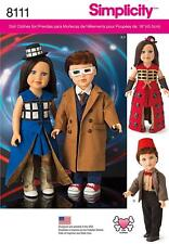 """SIMPLICITY SEWING PATTERN 18"""" DOLL CLOTHES TIME TRAVEL  8111 0S"""