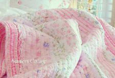 PINK ROSES & RUFFLES SHABBY COTTAGE CHIC WHITE LACE QUILT SET BLUE FLOWERS QUEEN