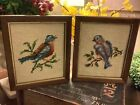 2  Vintage Needlepoint Bird Pictures 7  x 6 FREE SHIPPING Super Cute  Lovely