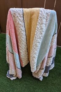 Shabby Chic Estab 1989 Throw Blanket Large Stripes of Soft Pastel Colors & White