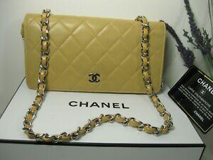 Authentic Chanel Long Beige Lambskin Leather Full Flap Crossbody Bag WOC