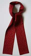 "Burgundy red & blue Floral hand printed silk cravat 47"" X 3"" Hand made"