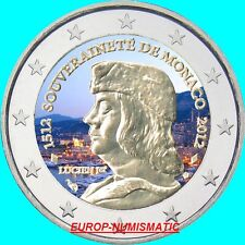 "MONACO 2012  2 EUROS "" LUCIEN 1er "" COULEUR/COLOR/ KLEUR/COLORIERT"